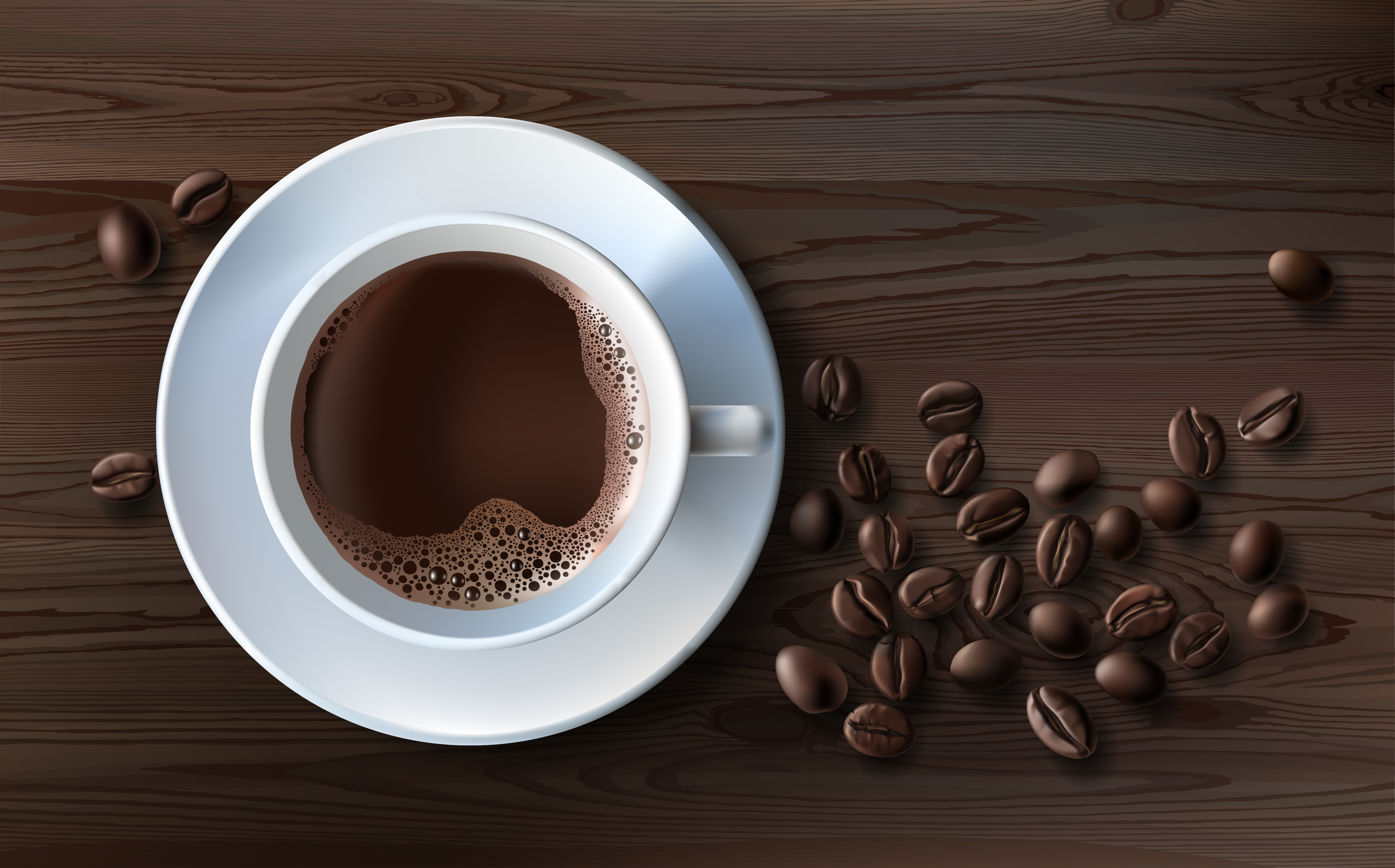 Vector Illustration Of A Realistic Style Of White Coffee Cup With A Saucer And Coffee Beans Top View Lmx